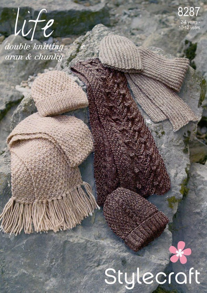 Stylecraft 8287 Knitting Pattern Scarves And Hats In Stylecraft Life