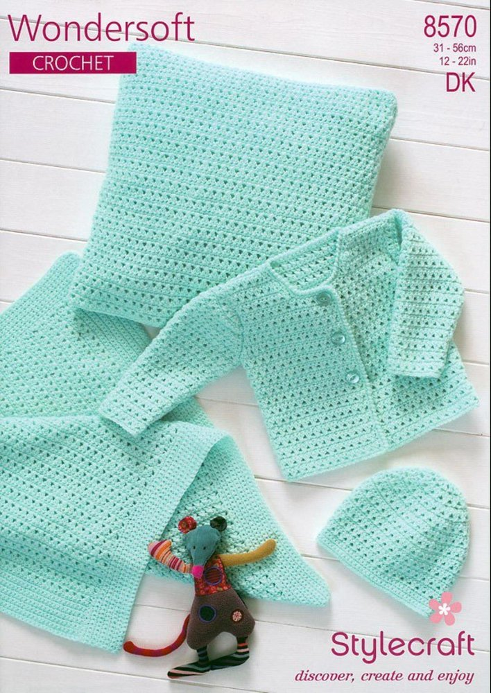Stylecraft 8570 Crochet Pattern Cardigan Hat Blanket Cushion In