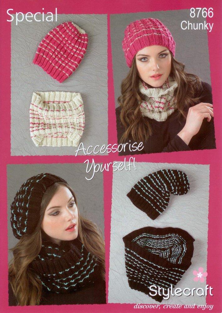 Stylecraft 8766 Knitting Pattern Ladies Beanie Hat Cowl Special