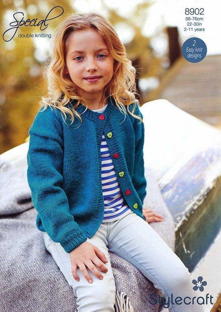 Stylecraft 8902 Knitting Pattern Childrens Girls Cardigans In