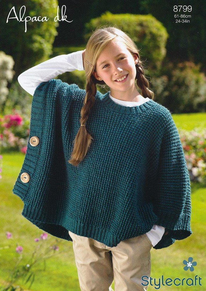 Stylecraft 8799 Knitting Pattern Girls Poncho in Stylecraft Alpaca ...