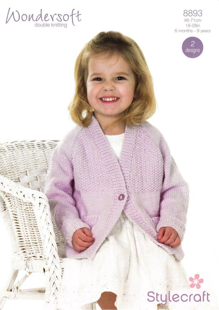Stylecraft 8893 Knitting Pattern Babies Children Cardigan In