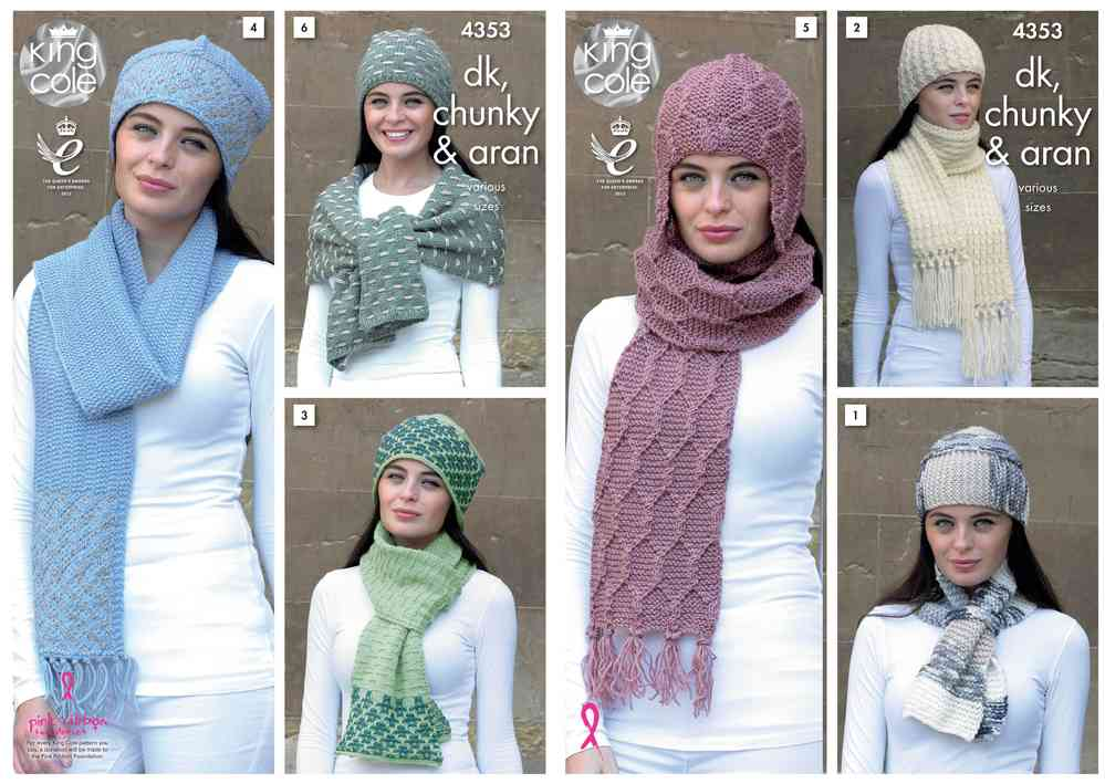 King Cole 4353 Knitting Pattern Accessories in King Cole Chunky, DK ...