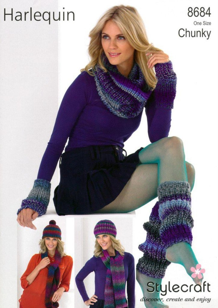 Stylecraft 8684 Knitting Pattern Hat Scarves Snood Leg Warmers
