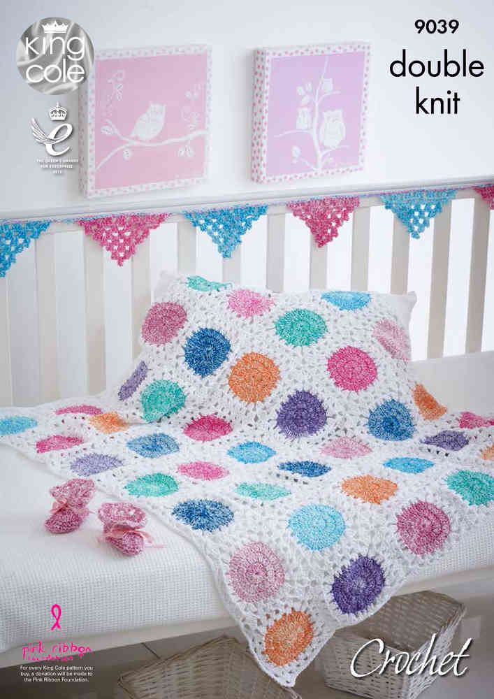 King Cole 9039 Crochet Pattern Baby Blanket Bunting Bootees In
