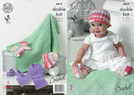King Cole 4419 Crochet Pattern Baby Hat, Scarf, Shoes, Socks and Blanket in King Cole Cherish DK