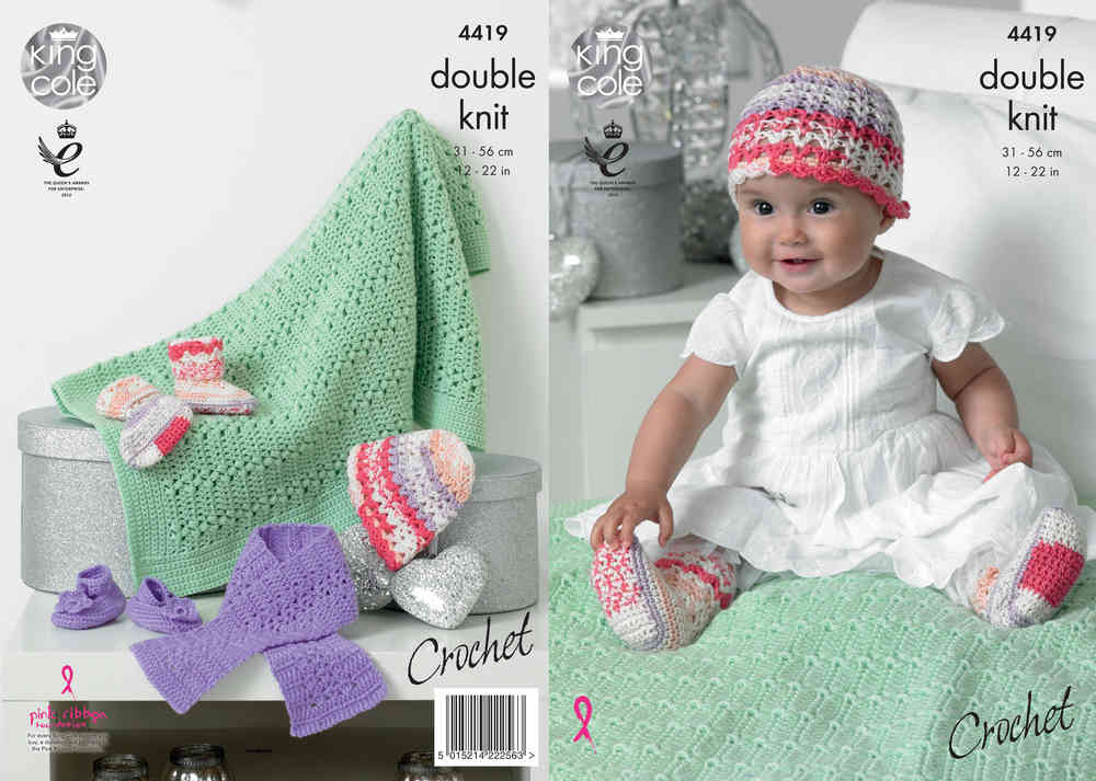King Cole 4419 Crochet Pattern Baby Hat Scarf Shoes Socks And