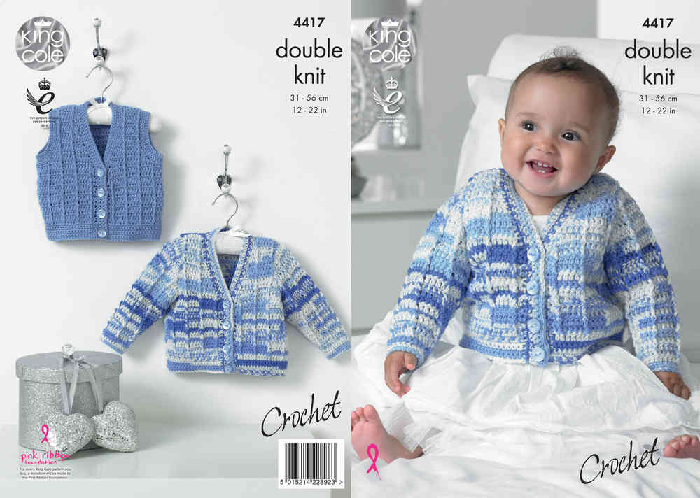 8709718740195d King Cole 4417 Crochet Pattern Baby Cardigan and Waistcoat in King Cole  Cherish DK - Athenbys