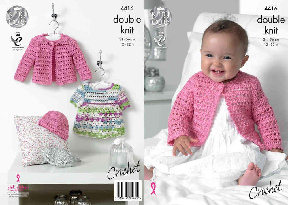 00286ddd05af08 King Cole 4416 Crochet Pattern Baby Dress