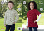 King Cole 4420 Knitting Pattern Childrens Sweater and Tunic in King Cole Chunky Tweed