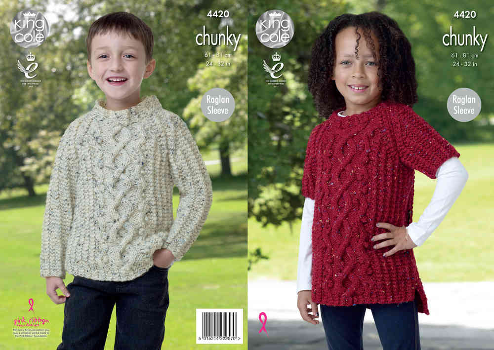 1d510ffec46 King Cole 4420 Knitting Pattern Childrens Sweater and Tunic in King Cole  Chunky Tweed - Athenbys