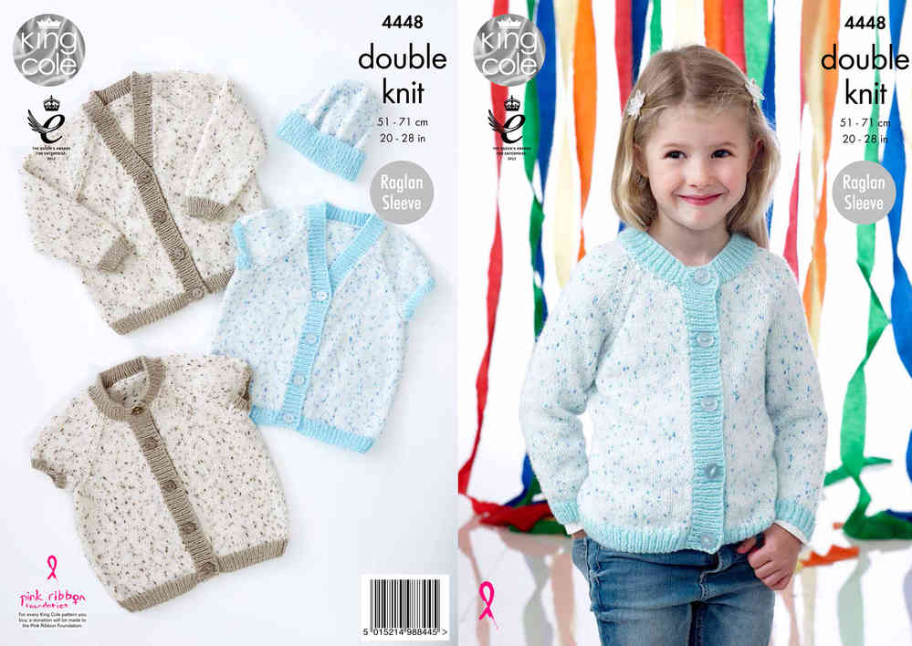 King Cole 4448 Knitting Pattern V & Round Neck Raglan Sleeve Cardigans and  Hat in Smarty DK