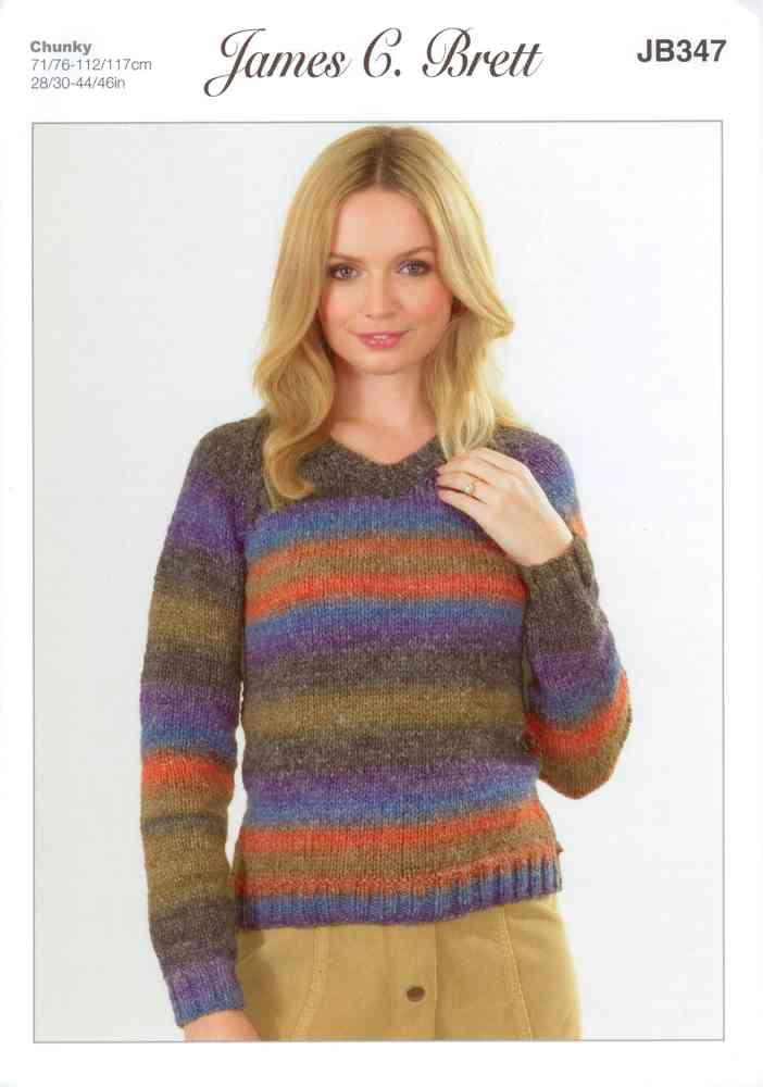 James C Brett JB347 Knitting Pattern Sweater in Lakeland Chunky ...