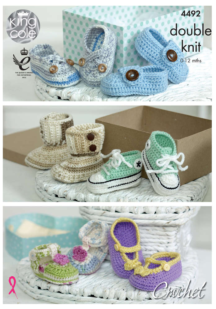 King Cole 4492 Crochet Pattern Crocheted Baby Shoes In Cherish And
