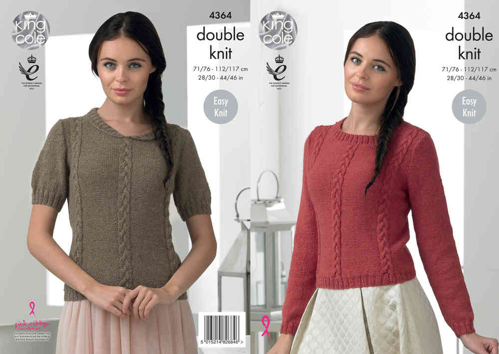 f0e235508 King Cole 4364 Knitting Pattern Easy Knit Sweaters in King Cole Baby Alpaca  DK - Athenbys