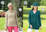 King Cole 4349 Knitting Pattern Raglan Sleeve Sweater, Tunic and Hat in King Cole Fashion Aran