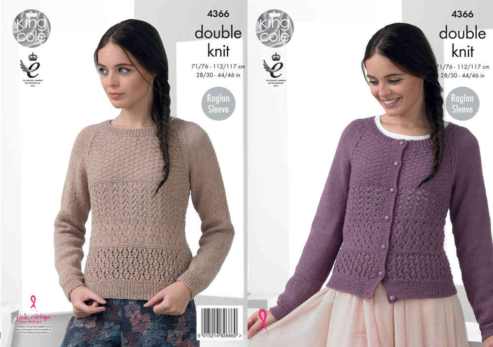 King Cole 4366 Knitting Pattern Raglan Sleeve Sweater and Cardigan ...