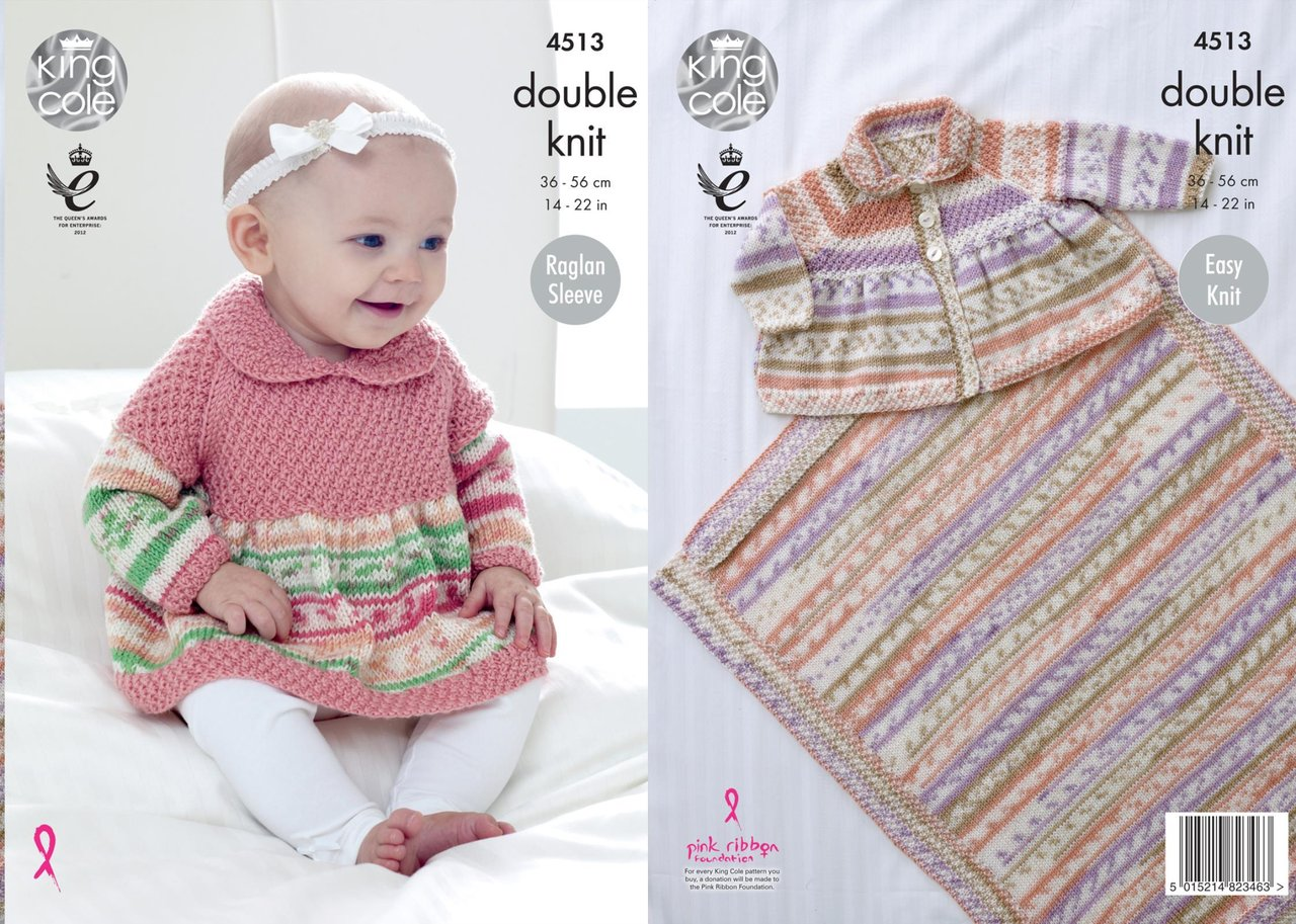 King Cole 4513 Knitting Pattern Baby Sweater, Cardigan and Blanket ...