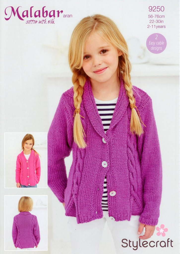 Stylecraft 9250 Knitting Pattern Girls Cardigans to knit in Malabar ...
