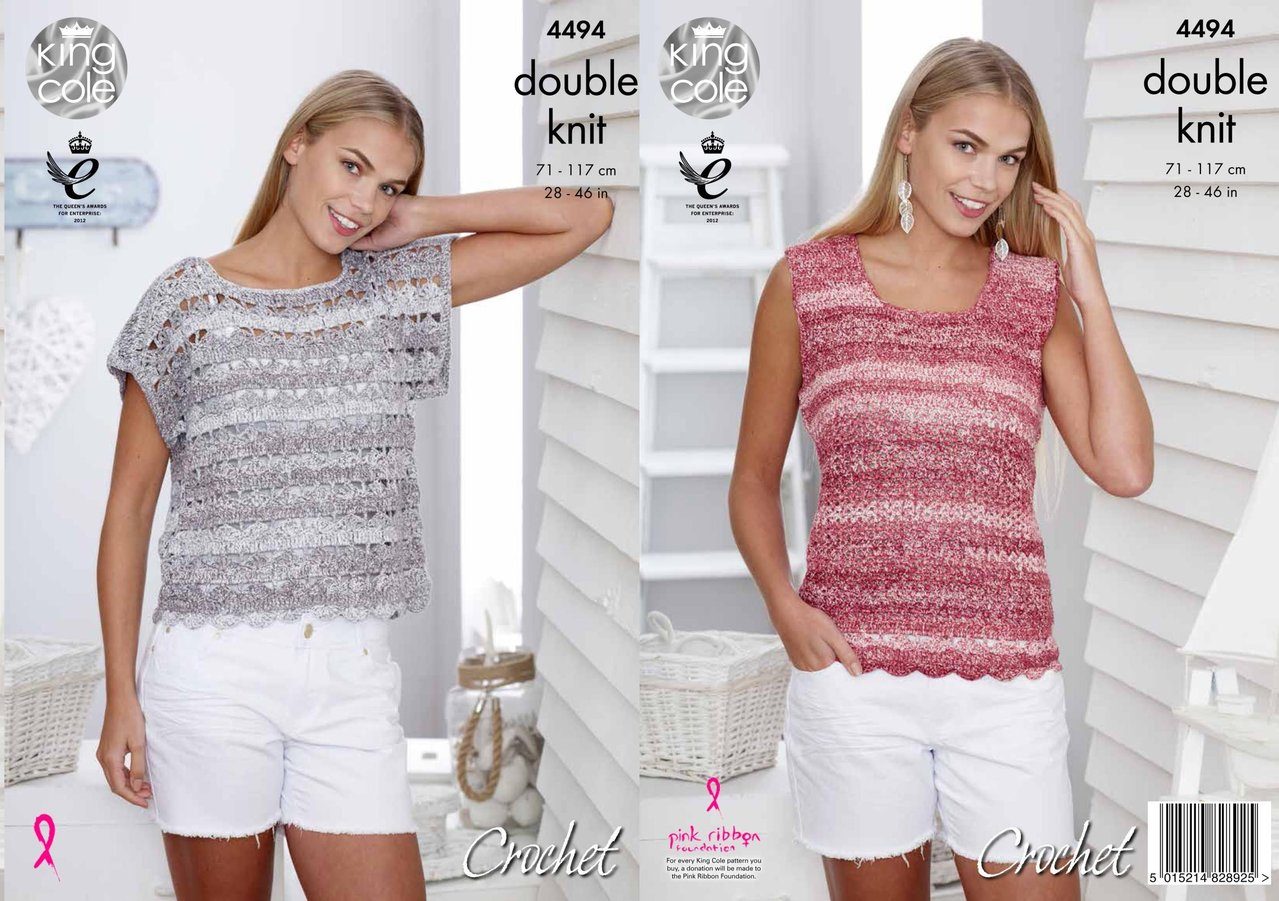 King Cole 4494 Crochet Pattern T Shirt and Vest Top in Vogue DK ...