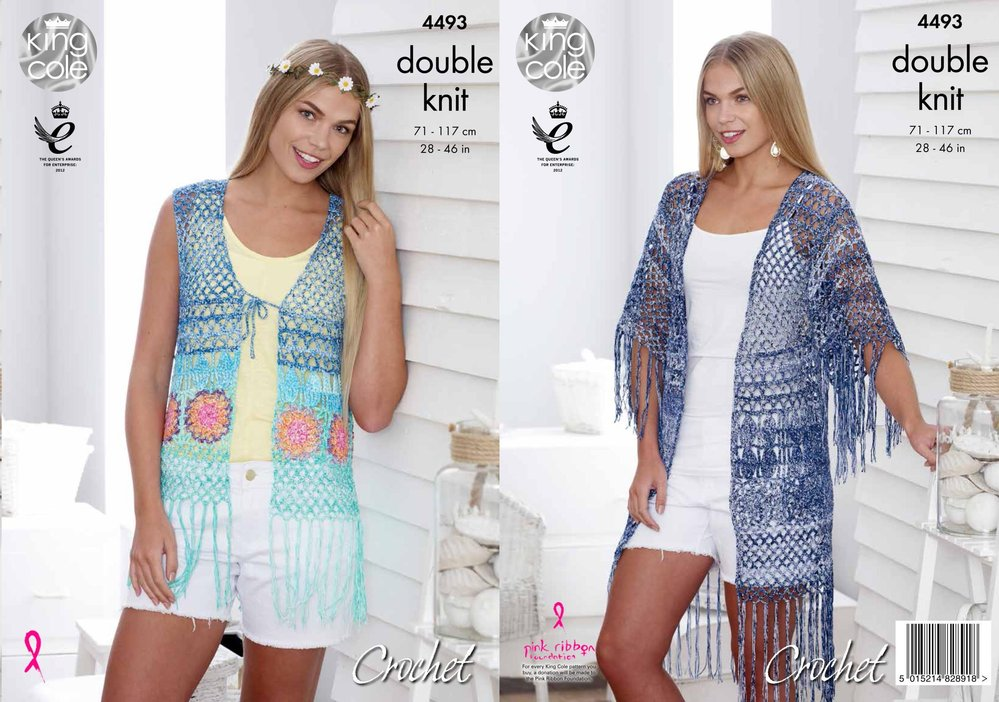 King Cole 4493 Crochet Pattern Waistcoat And Kimono Style Cardigan