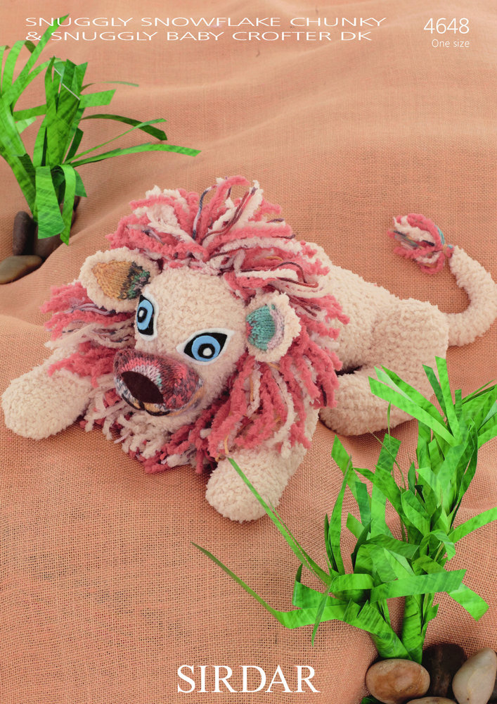 Sirdar 4648 Knitting Pattern Toy Lion To Knit In Snuggly Snowflake