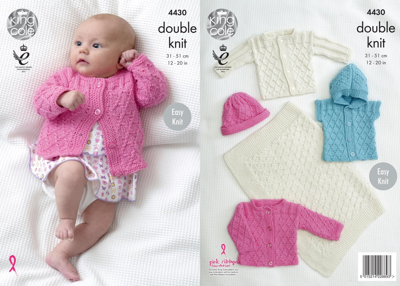 King Cole 4430 Knitting Pattern Easy Knit Baby Blanket, Jackets ...