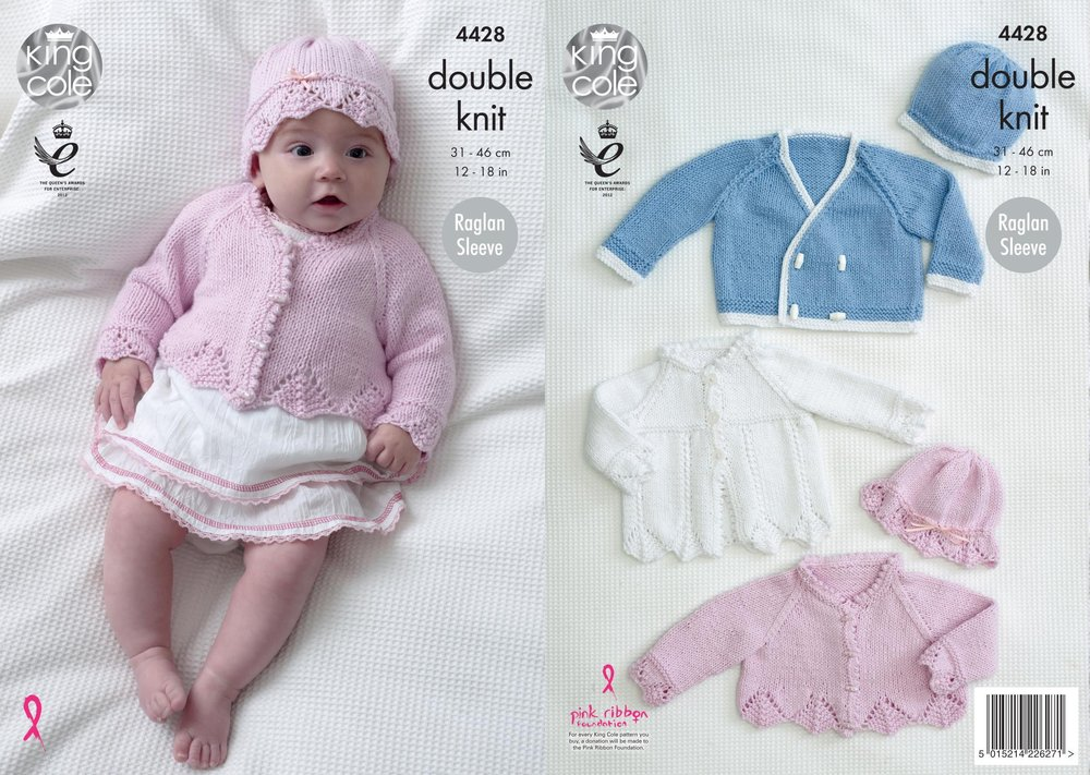 cf2e8bba33b0 King Cole 4428 Knitting Pattern Baby Matinee Coat