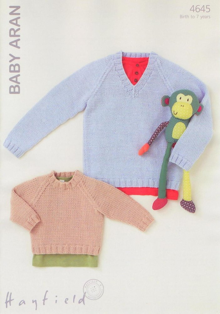 Hayfield Sirdar 4645 Knitting Pattern Boys Sweaters To Knit In