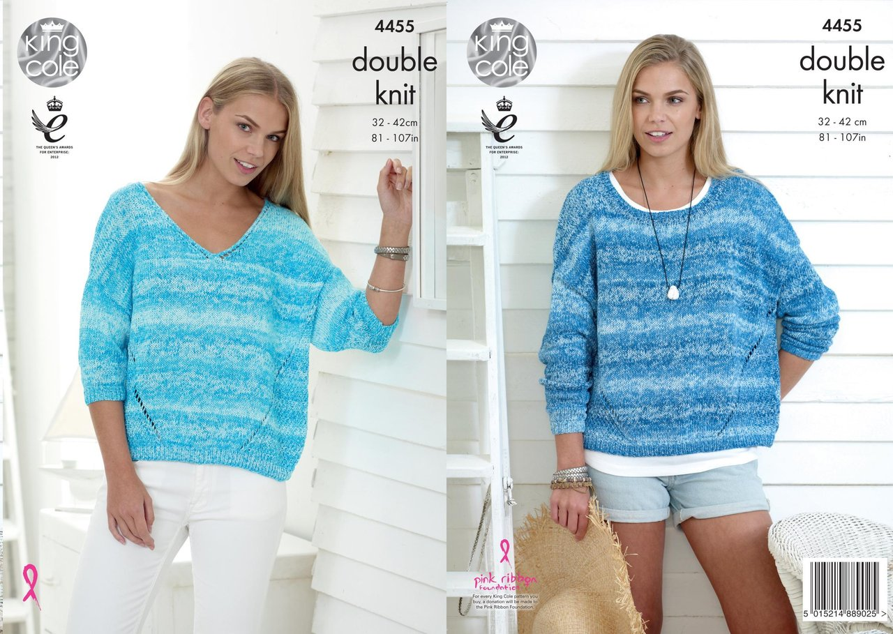 King Cole 4455 Knitting Pattern Ladies Sweaters to knit in Vogue DK ...
