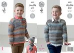 King Cole 4453 Knitting Pattern Boys Sweaters Hat and Scarf to knit in Drifter DK