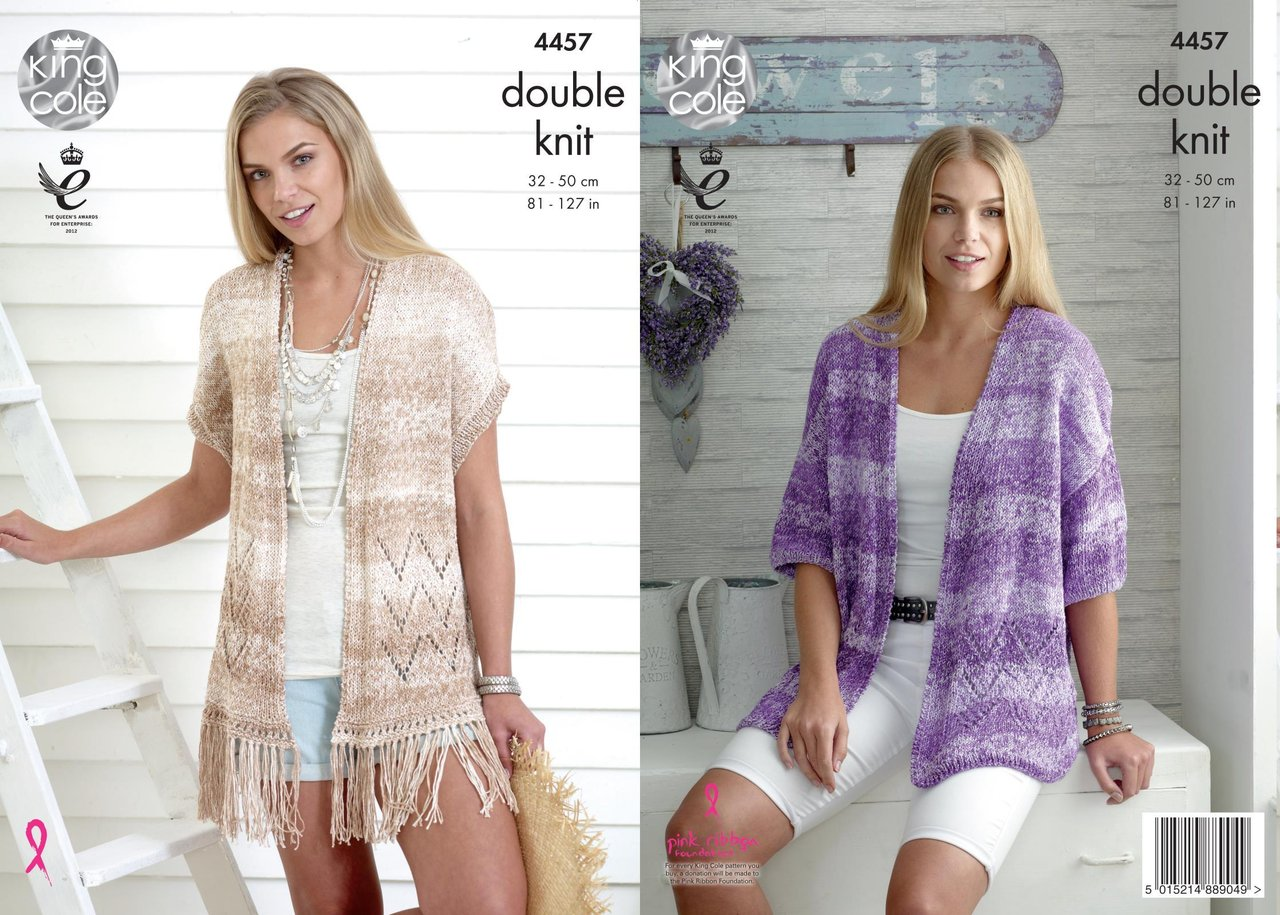 King Cole 4457 Knitting Pattern Ladies Cardigan and Waistcoat to ...