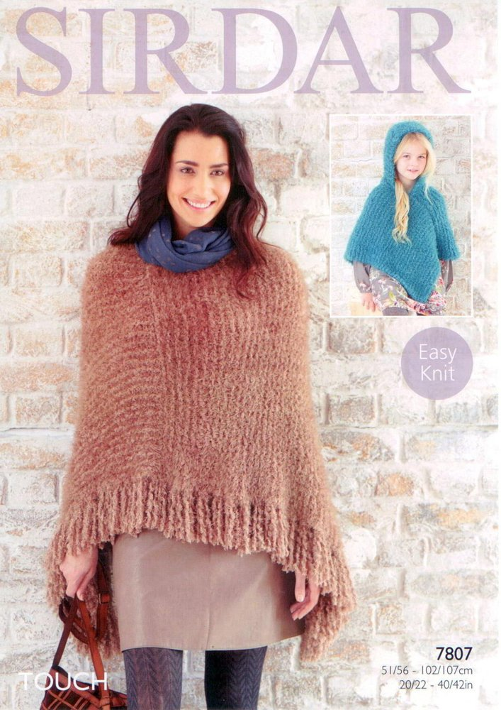 Sirdar 7807 Knitting Pattern Ladies And Girls Poncho To Knit In