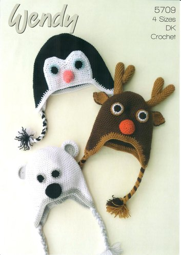 Wendy 5709 Crochet Pattern Christmas Animal Penguin, Reindeer and Polar Bear Hats in Wendy DK