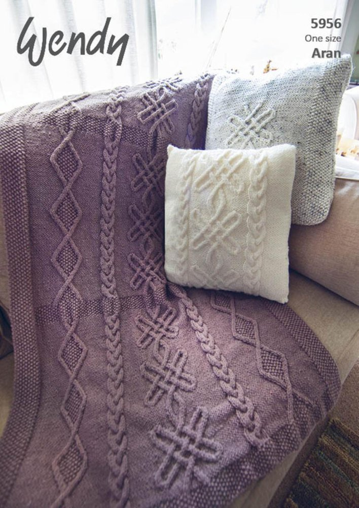 Wendy 5956 Knitting Pattern Throw and Cushions in Aran with Wool ...
