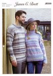 James C Brett JB369 Knitting Pattern Womens Mens Sweaters in Marble Chunky