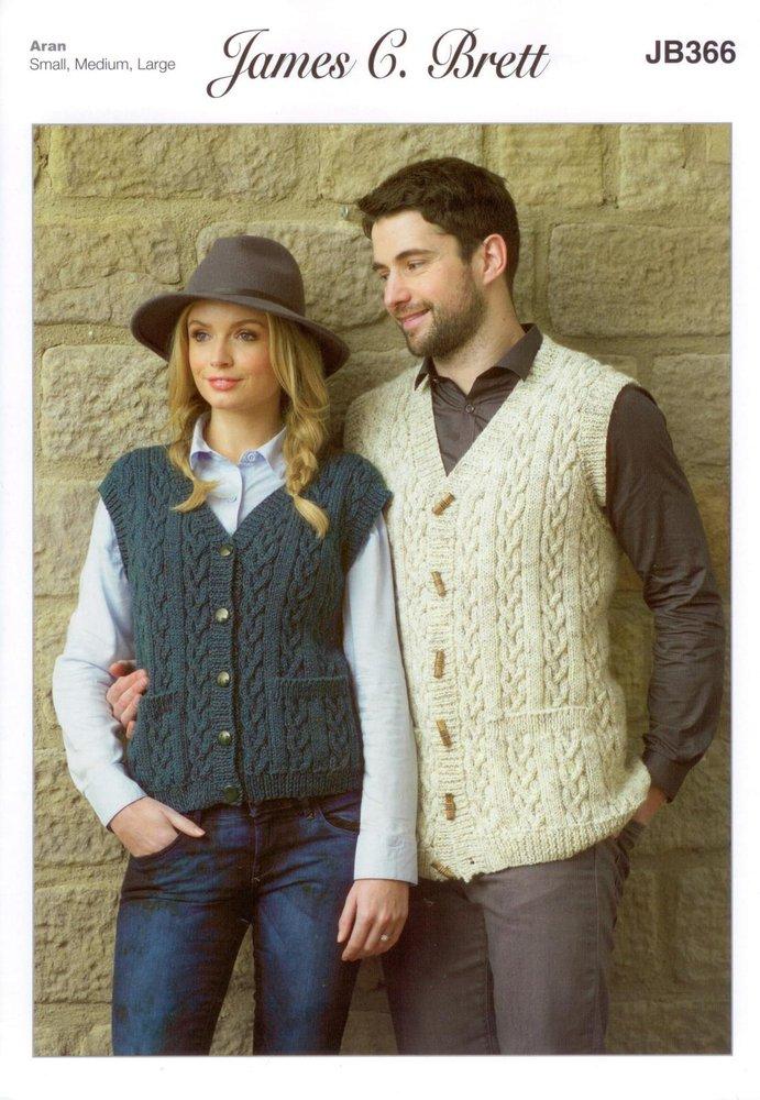 James C Brett Jb366 Knitting Pattern Womens Mens Waistcoasts In