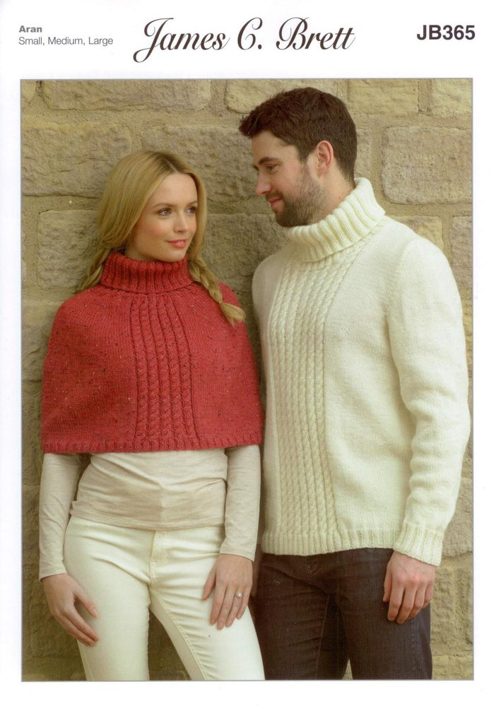 James C Brett Jb365 Knitting Pattern Womens Cape Mens Sweater In