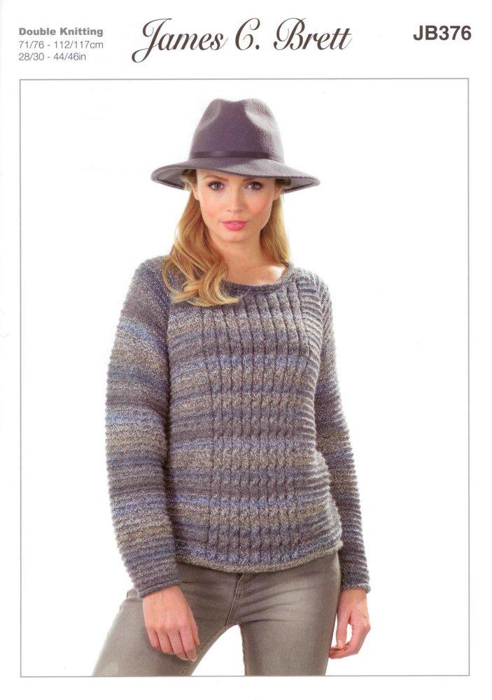 James C Brett JB376 Knitting Pattern Womens Round Neck Sweater in ...