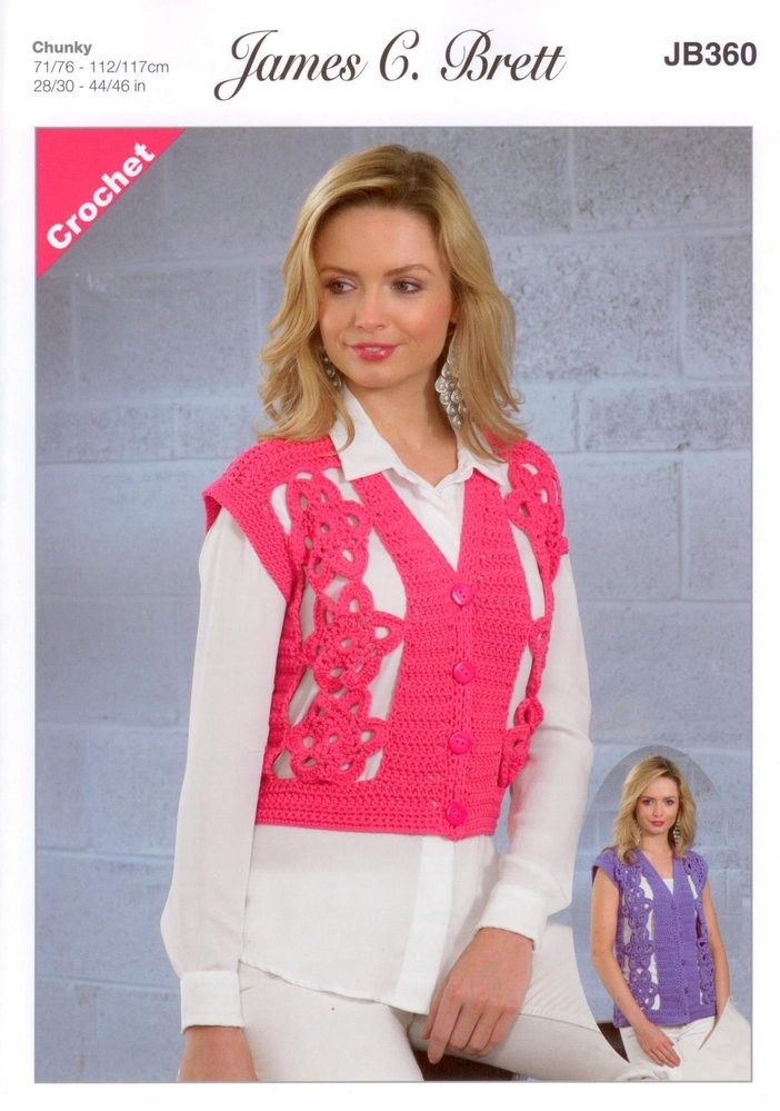 James C Brett Jb360 Crochet Pattern Ladies Waistcoat In Noodles