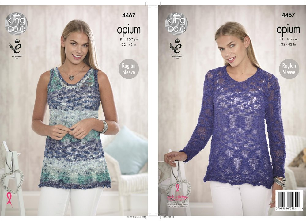 b49c0a59d King Cole 4467 Knitting Pattern Ladies Top and Sweater in Opium - Athenbys