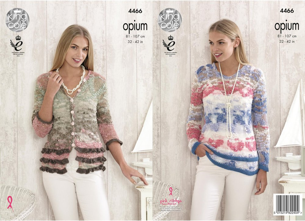 3e3462d46 King Cole 4466 Knitting Pattern Ladies Cardigan and Sweater in Opium ...