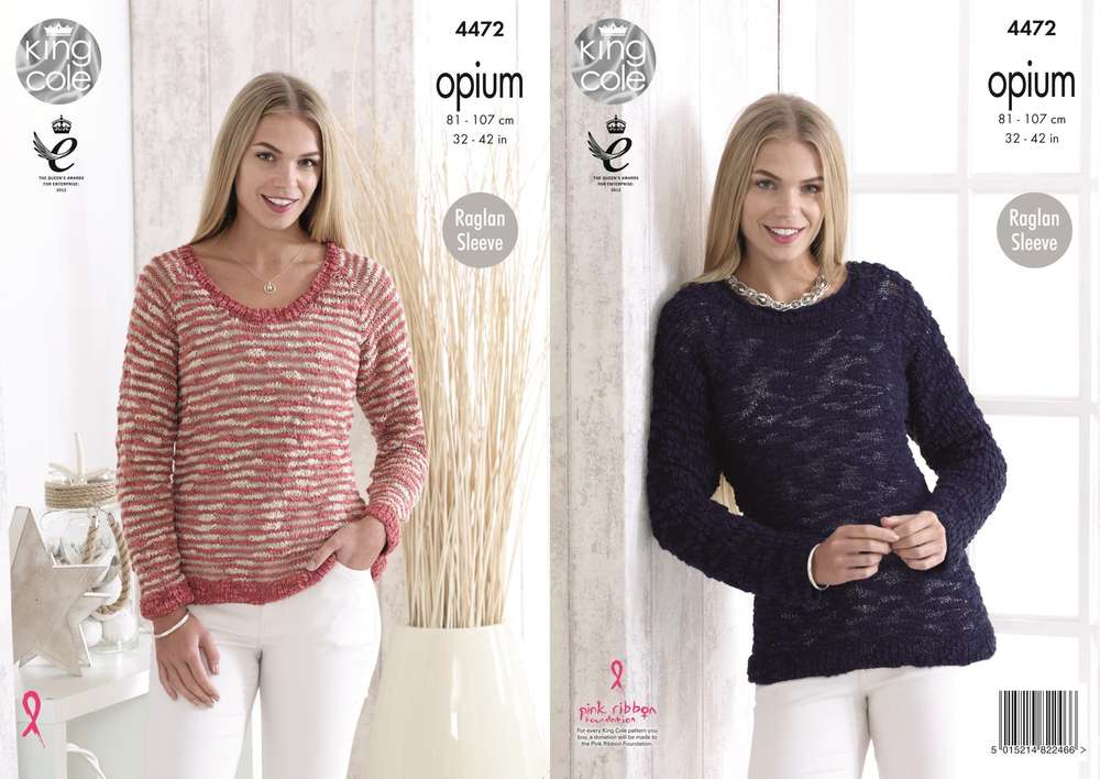 9052de3d6 King Cole 4472 Knitting Pattern Ladies Sweaters in Opium - Athenbys