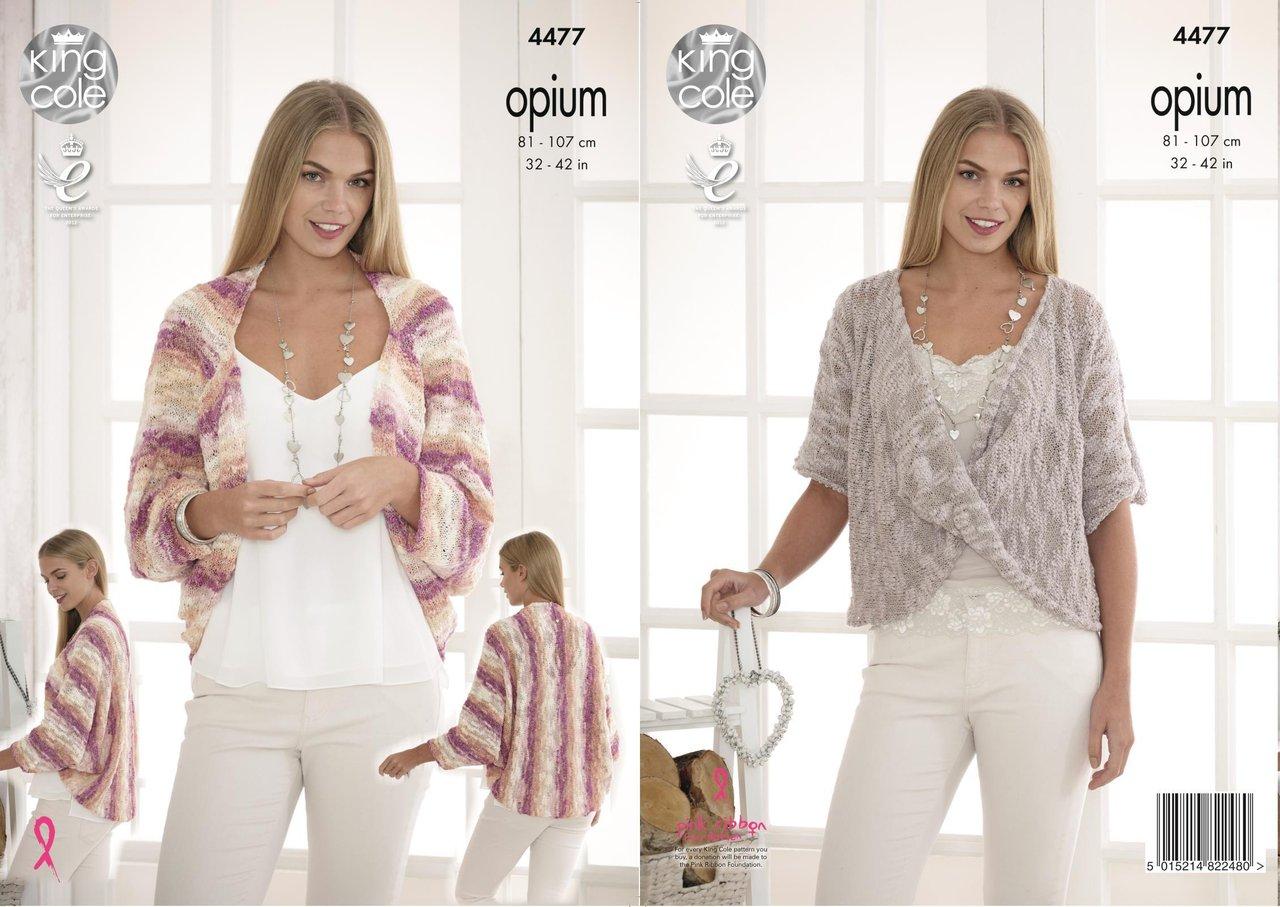 King Cole 4477 Knitting Pattern Ladies Shrug Cardigan Sweater in ...