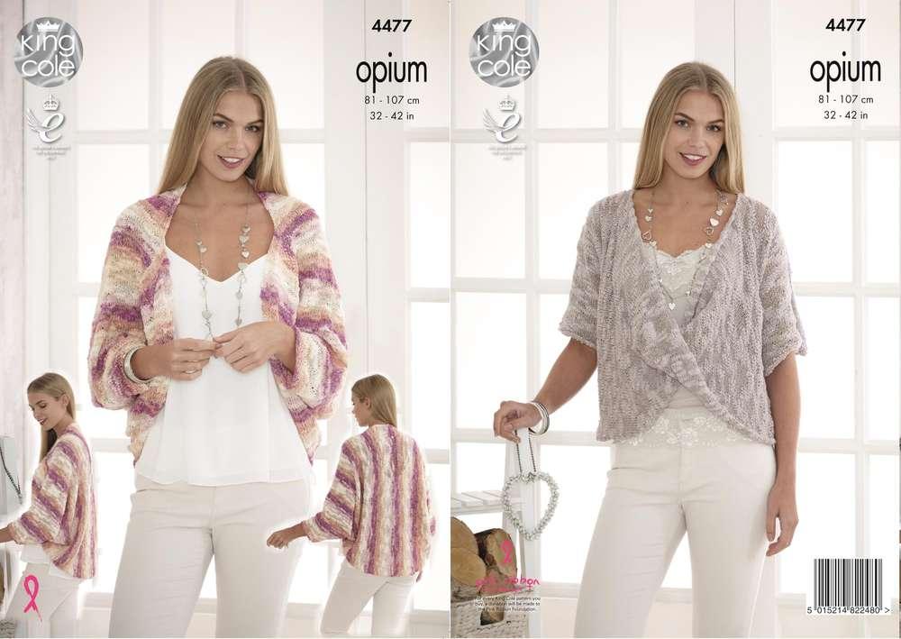 8cd72315b King Cole 4477 Knitting Pattern Ladies Shrug Cardigan Sweater in Opium -  Athenbys