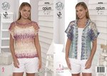 King Cole 4496 Crochet Pattern Ladies Mesh T-Shirt & Cardigan in Opium
