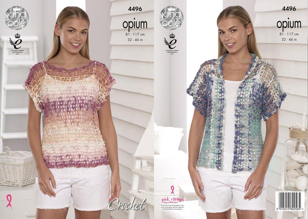 4c7df47ae King Cole 4496 Crochet Pattern Ladies Mesh T-Shirt   Cardigan in Opium -  Athenbys