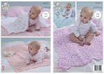 King Cole 4533 Knitting Pattern Baby Blankets to knit in King Cole Yummy