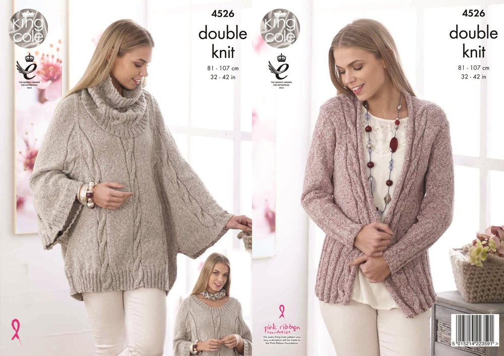 5179e54d0ebd King Cole 4526 Knitting Pattern Ladies Cape Cowl and Cardigan in Authentic  DK