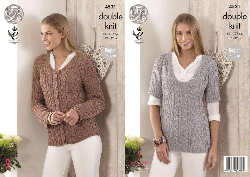 9ad9292f944f King Cole 4531 Knitting Pattern Ladies Sweater Cardigan in Giza DK ...